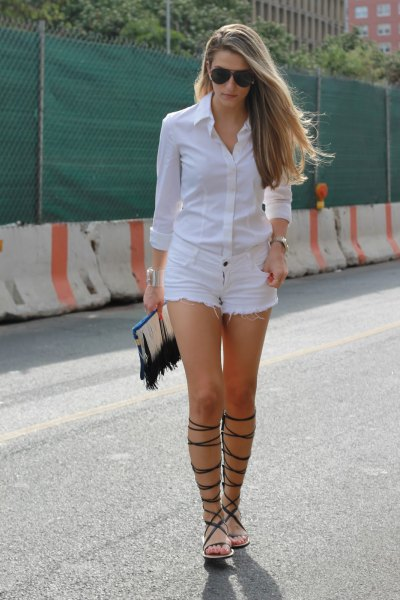 white button up shirt denim shorts