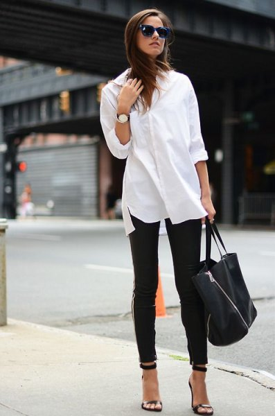 white button up shirt leather leggings heels