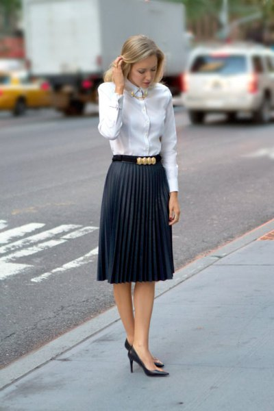 white button up shirt pleated midi pencil skirt