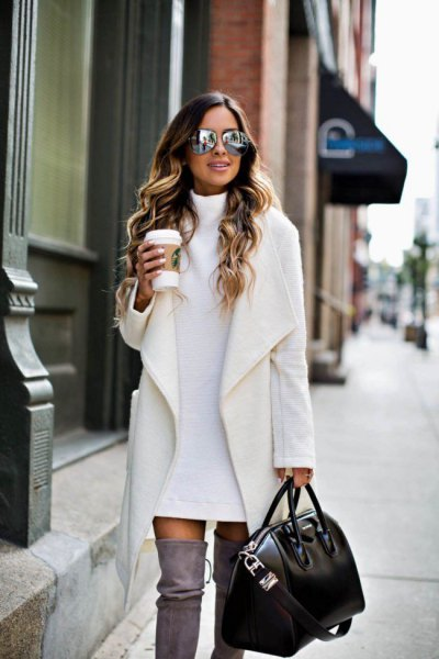 white coat sweater dress thigh high boots