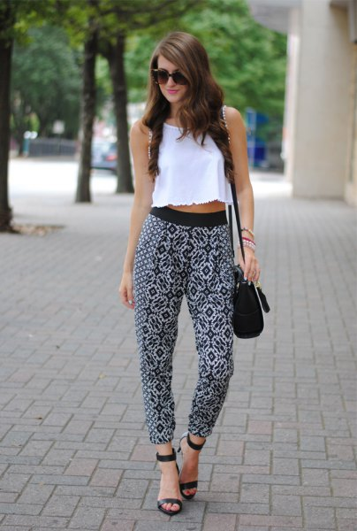 white crop top print pants sandals