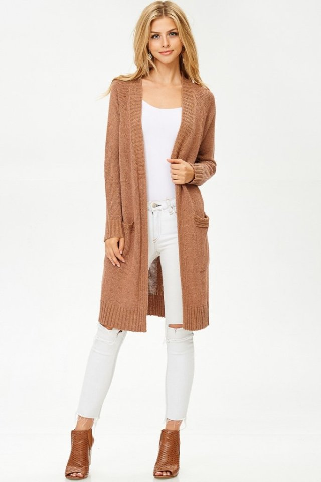 white jeans with long cardigan sweater