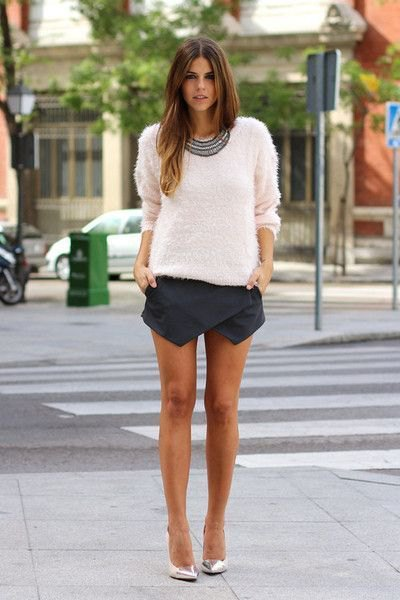 white knit sweater black skort
