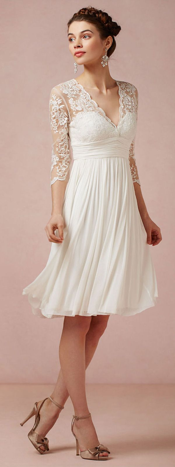 white lace empire waist dress