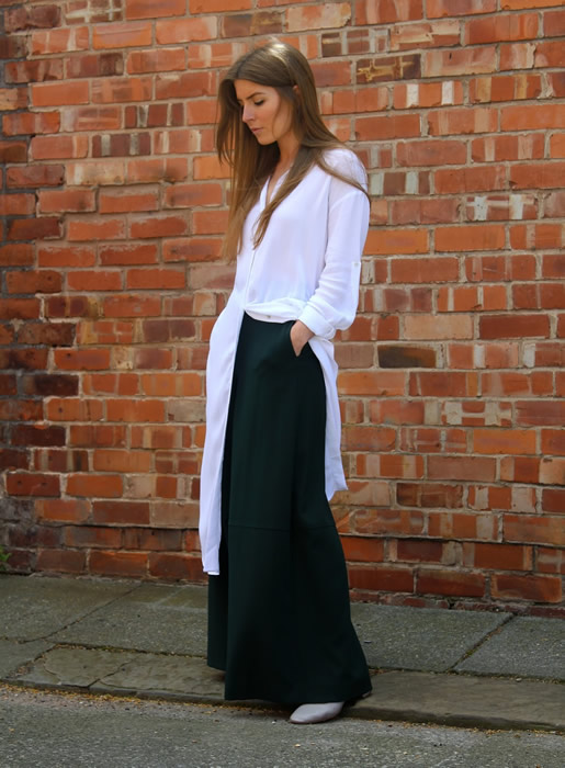 white long shirt wide leg pants outfit