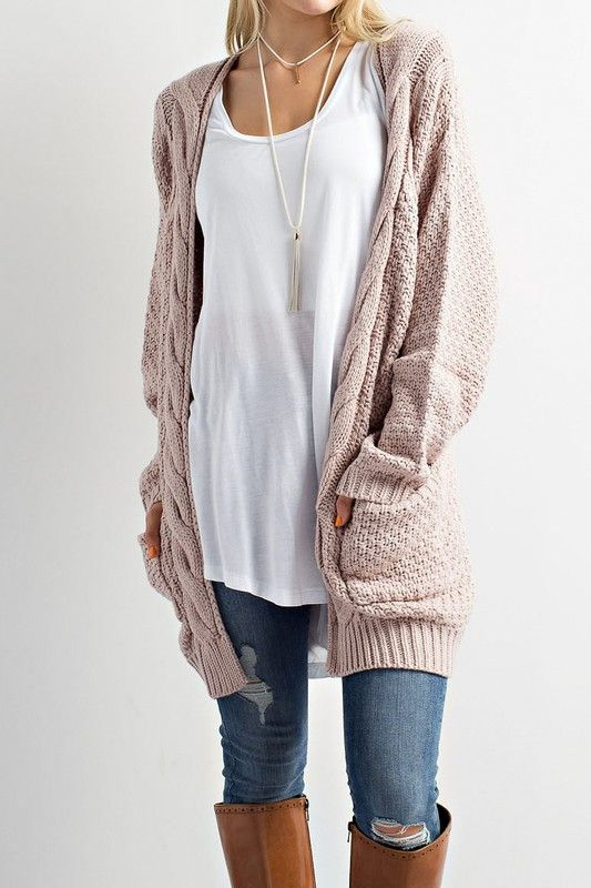 white long tee cable knit sweater