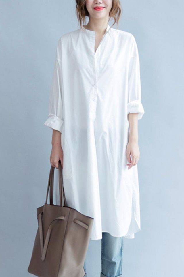 white midi shirt dress