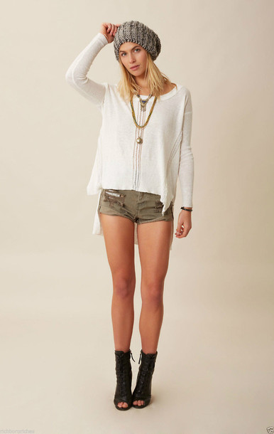 white sweater khaki shorts open toe booties