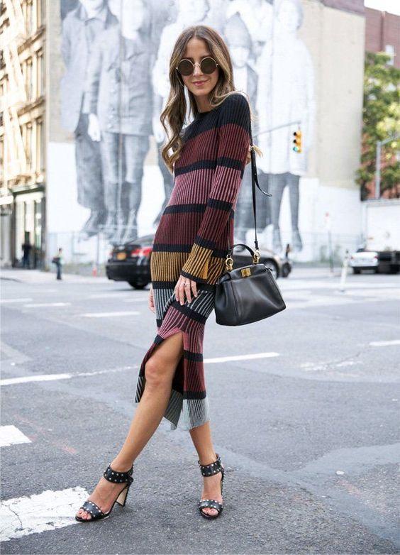 knit sweater dress stripes
