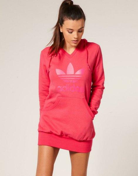 addidas pink v neck hoodie dress