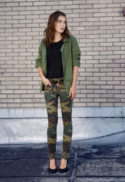 army green military jacket camo pants