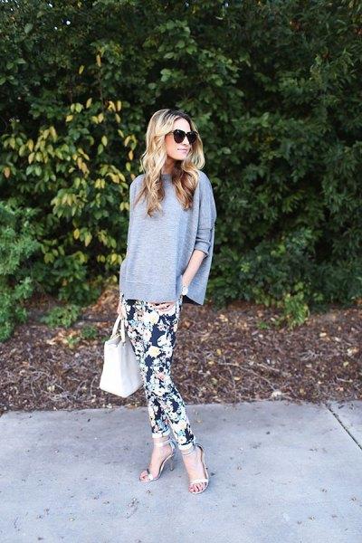 bat sleeve grey top floral leggings