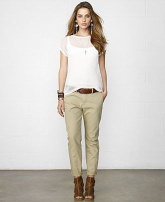 beige chinos white vest top sheer overlay