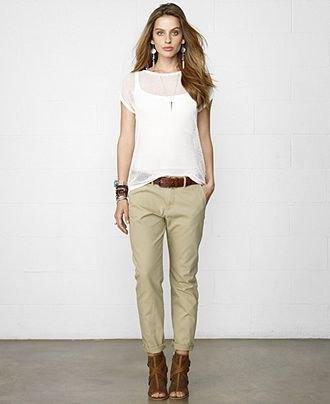 beige chinos white vest top sheer overlay