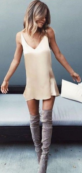 beige slip dress grey thigh high boots