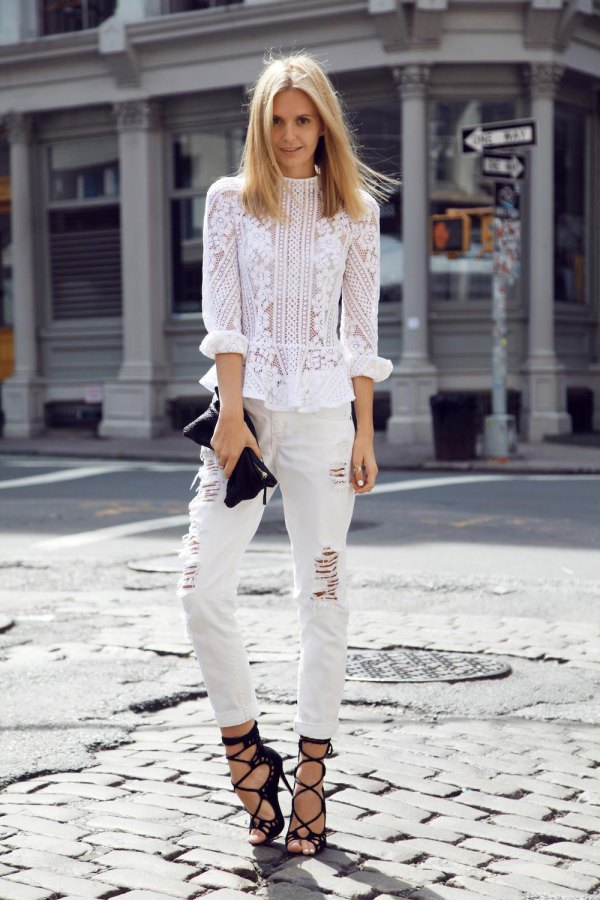 6e38e3a57e Try layering all white fabrics over white jeans like Merrick White to  achieve this gorgeous and. If you want to dress elegantly