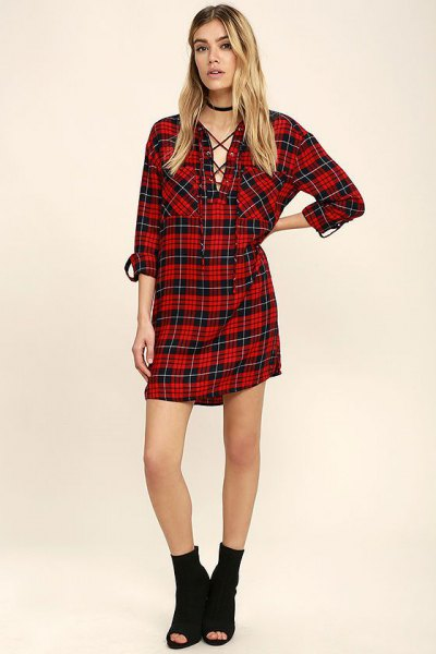 black and red plaid boyfriend shirt dress