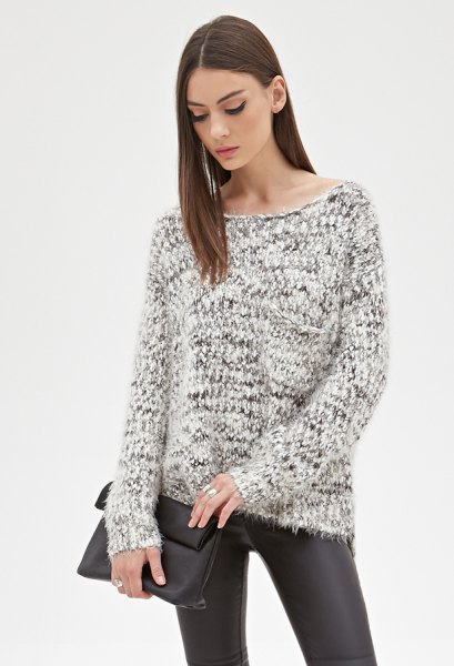 black and white marled knit sweater leather leggings
