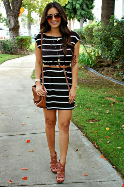 black and white striped dress thin belt