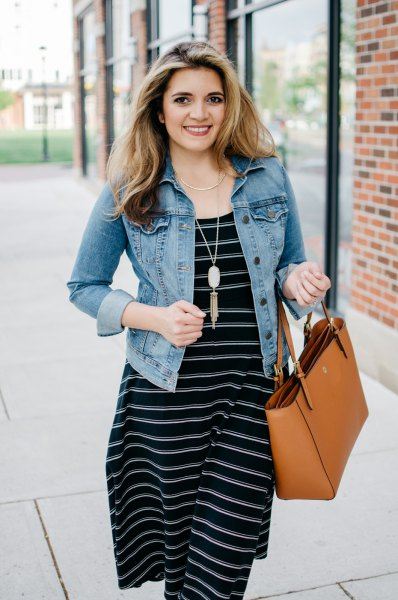 black and white striped midi dress denim jacket
