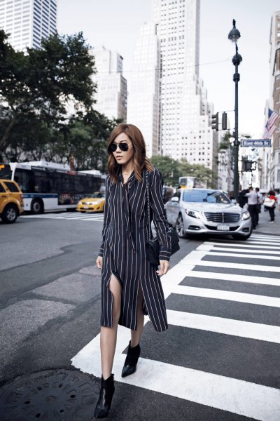 black and white striped midi shirt dress