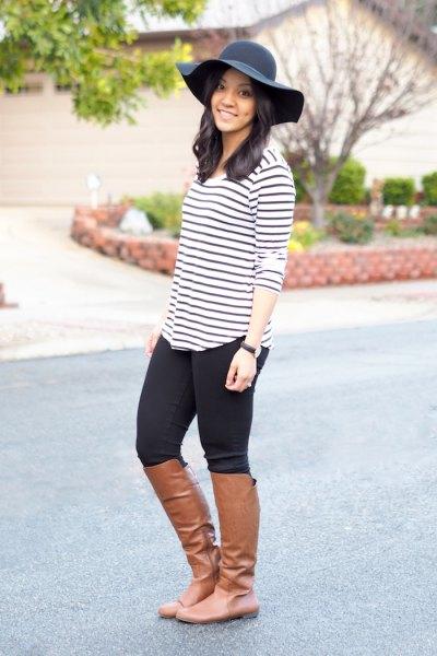 black and white striped t shirt black floppy hat