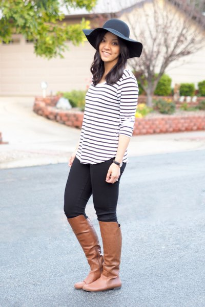 black and white striped t shirt black floppy hat
