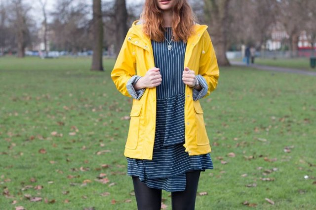 black and white striped tee dress yellow raincoat