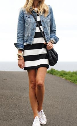 black and white wide striped dress denim jacket