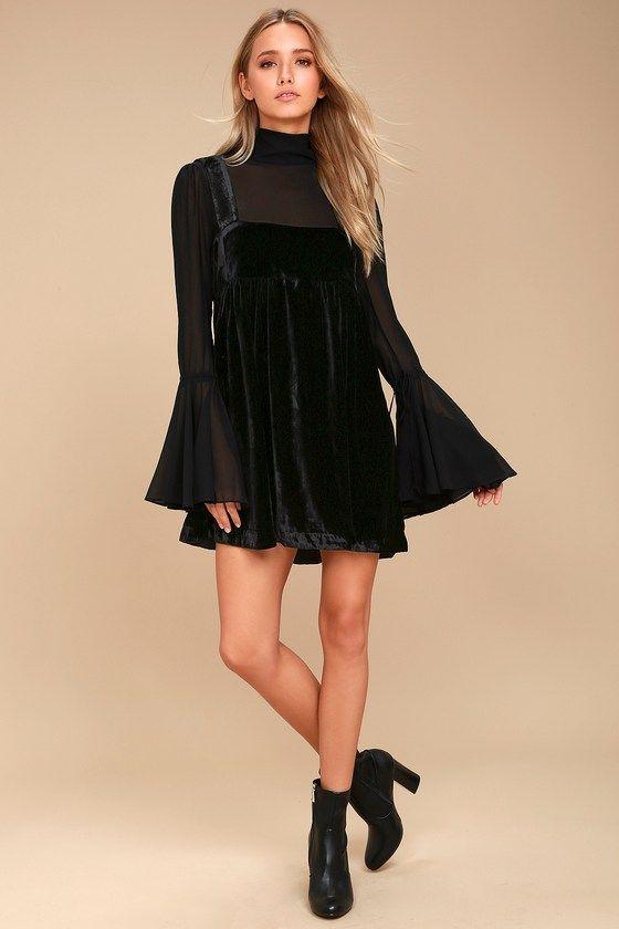 black baby doll dress velvet