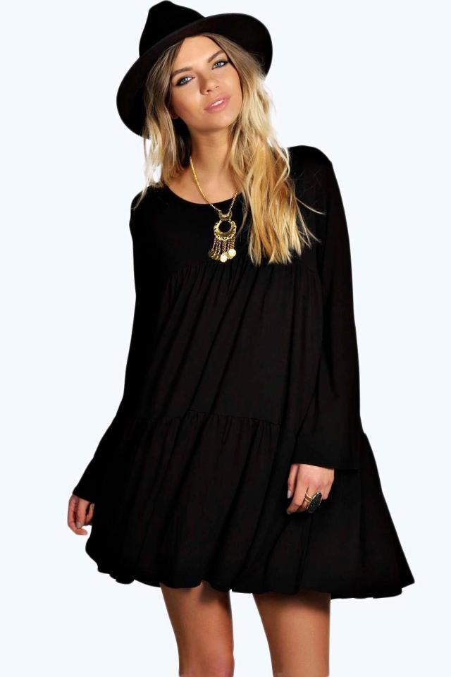 black baby doll dress bohemian