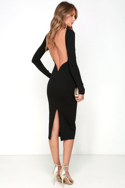 black backless midi dress silver heels