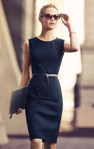 black belted sheath dress with white stripes