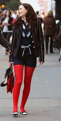 black blazer navy shorts red leggings