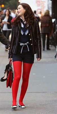 black blazer navy shorts red leggings