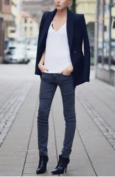 black blazer pointy toe ankle boots