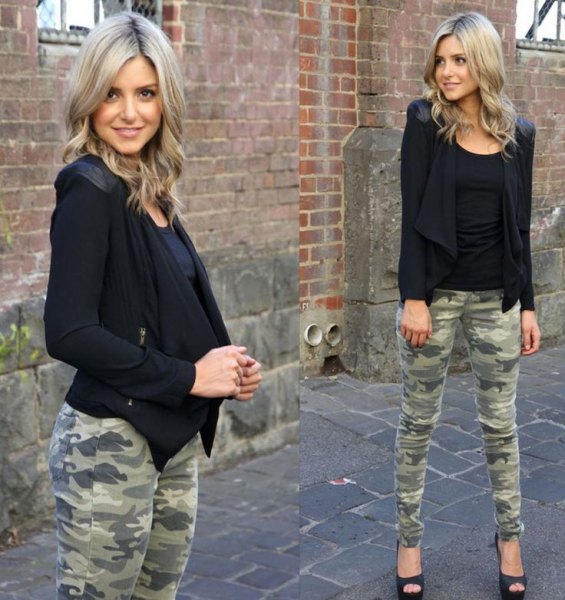 black bomber jacket army pants open top heels