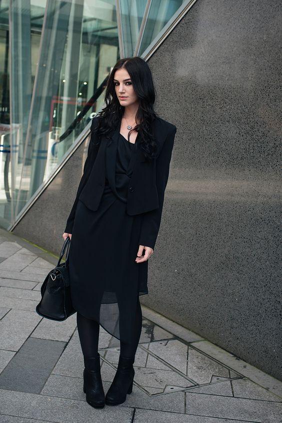 black chiffon dress all black