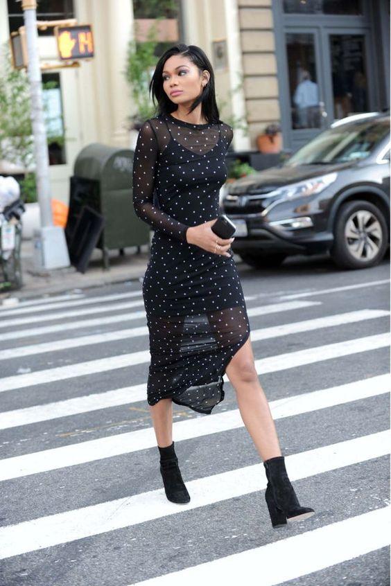 black chiffon dress long sheer