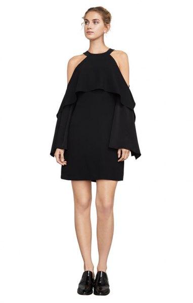 black cold shoulder halter dress outfit
