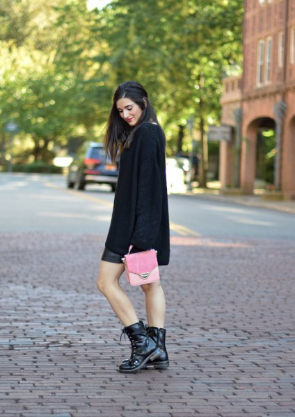 black combat boots black knit sweater leather skirt