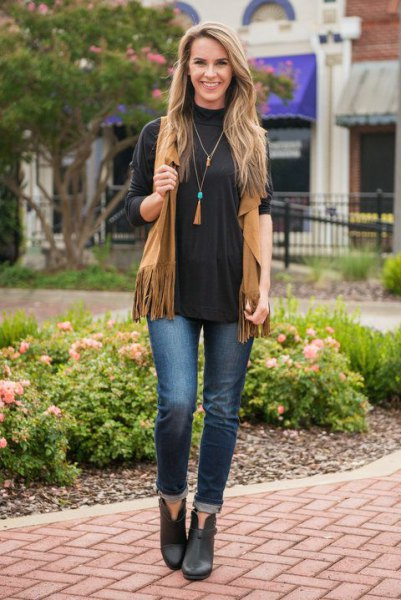 black crew neck long sleeve tee camel vest