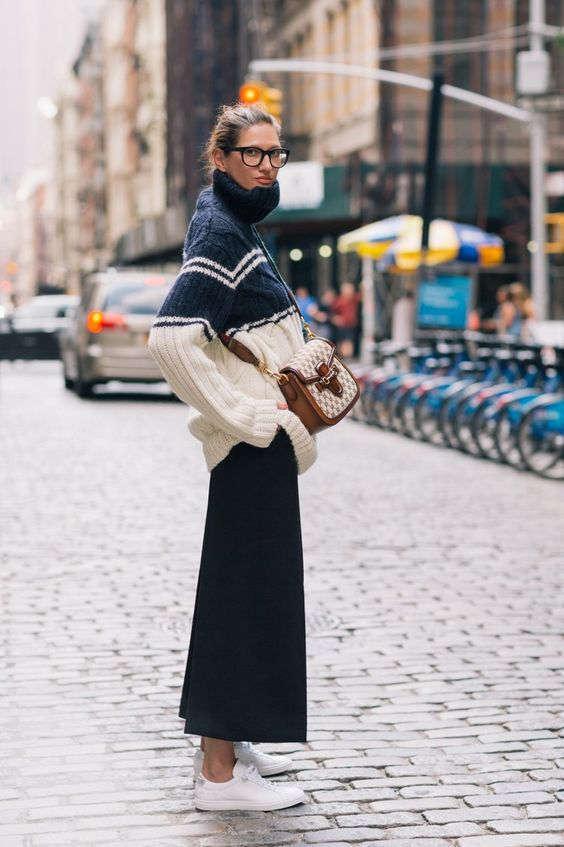 black culottes cable knit