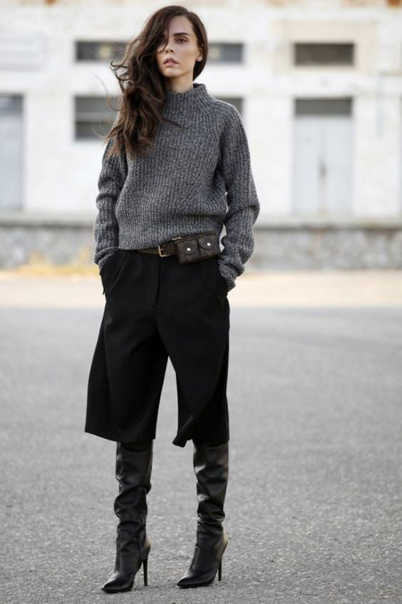 black culottes over the knee boots
