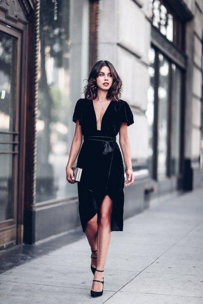 black deep v neck velvet wrap dress