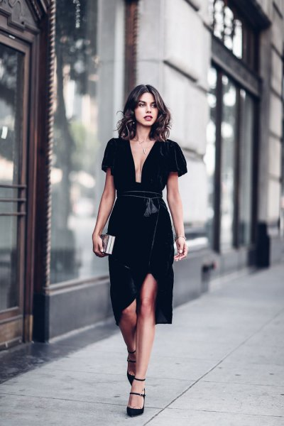 black deep v neck velvet wrap dress