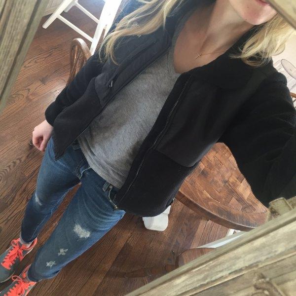 black fleece jacket grey tee ripped jeans