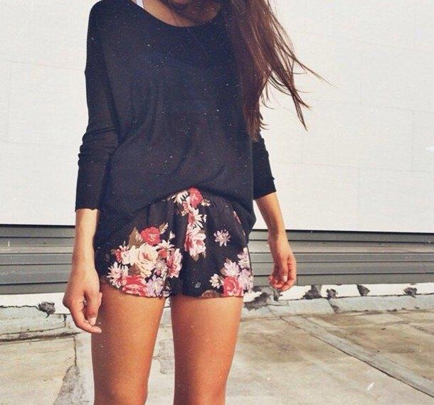 black floral chiffon shorts