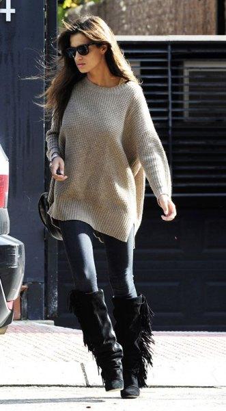 black fringe boots grey oversized knit sweater