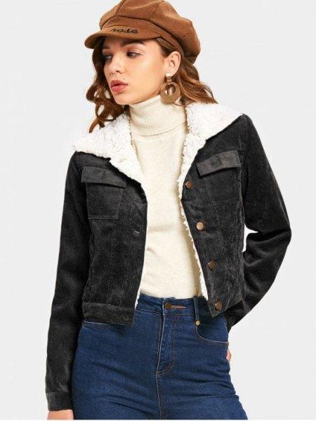 black fur collar jacket high neck sweater flat cap